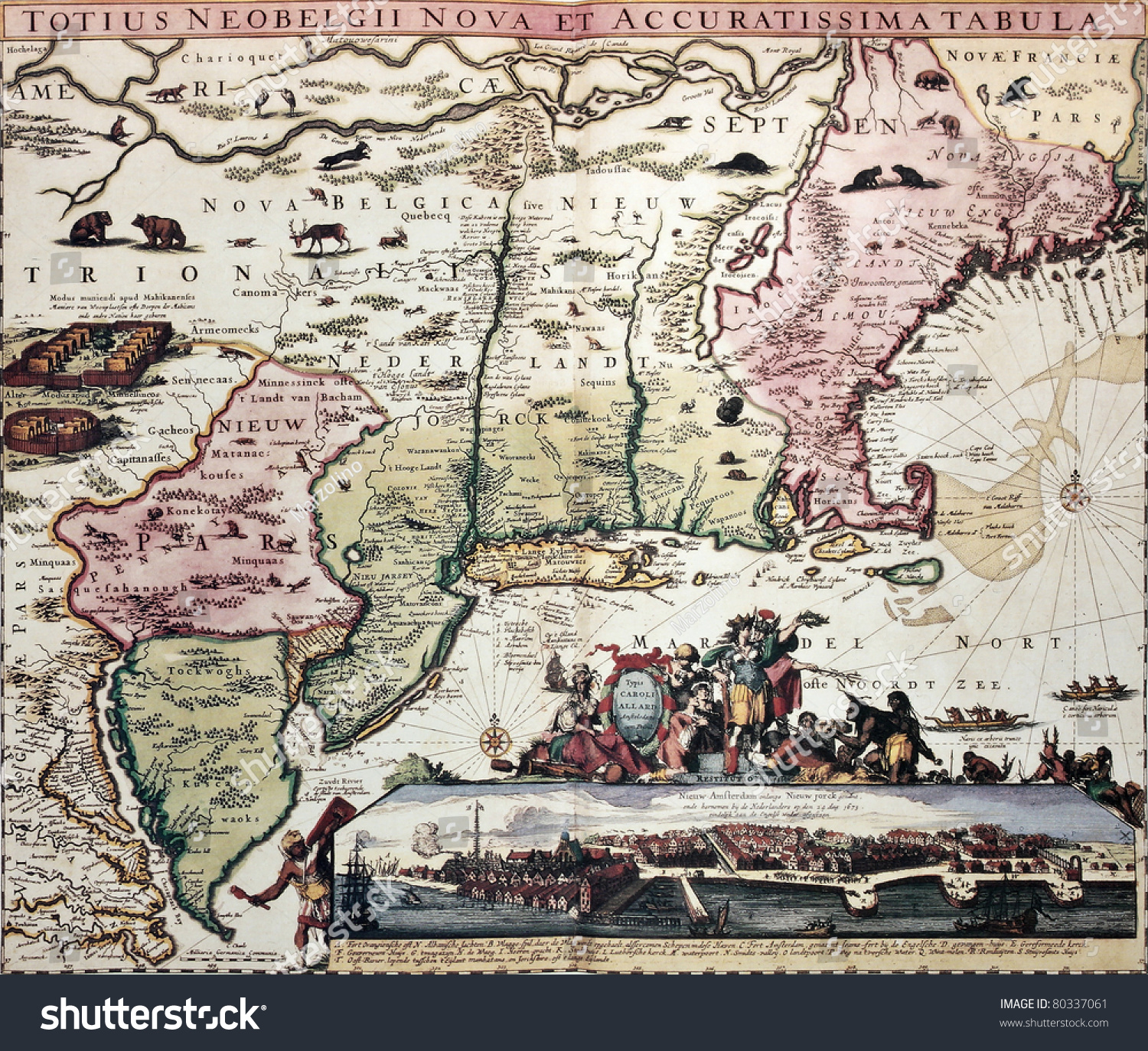 stock-photo-new-england-old-map-with-new-amsterdam-insert-view-created-by-carel-allard-published-in-amsterdam-80337061